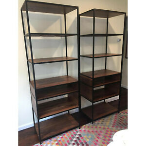 Crate Barrel Knox Bookcases Tall Shelves In Walnut Iron Pair Mint Ebay