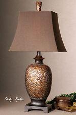 RICH BRONZE FINISH GRAY GLAZE TABLE LAMP BROWN LINEN SHADE READING DESK LIGHT