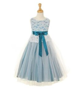 Details about green flower girl dress double layered tulle stretched