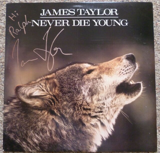 JAMES TAYLOR Never Die Young SIGNED PROMO GOLD STAMP LP Album AUTOGRAPHED JSA