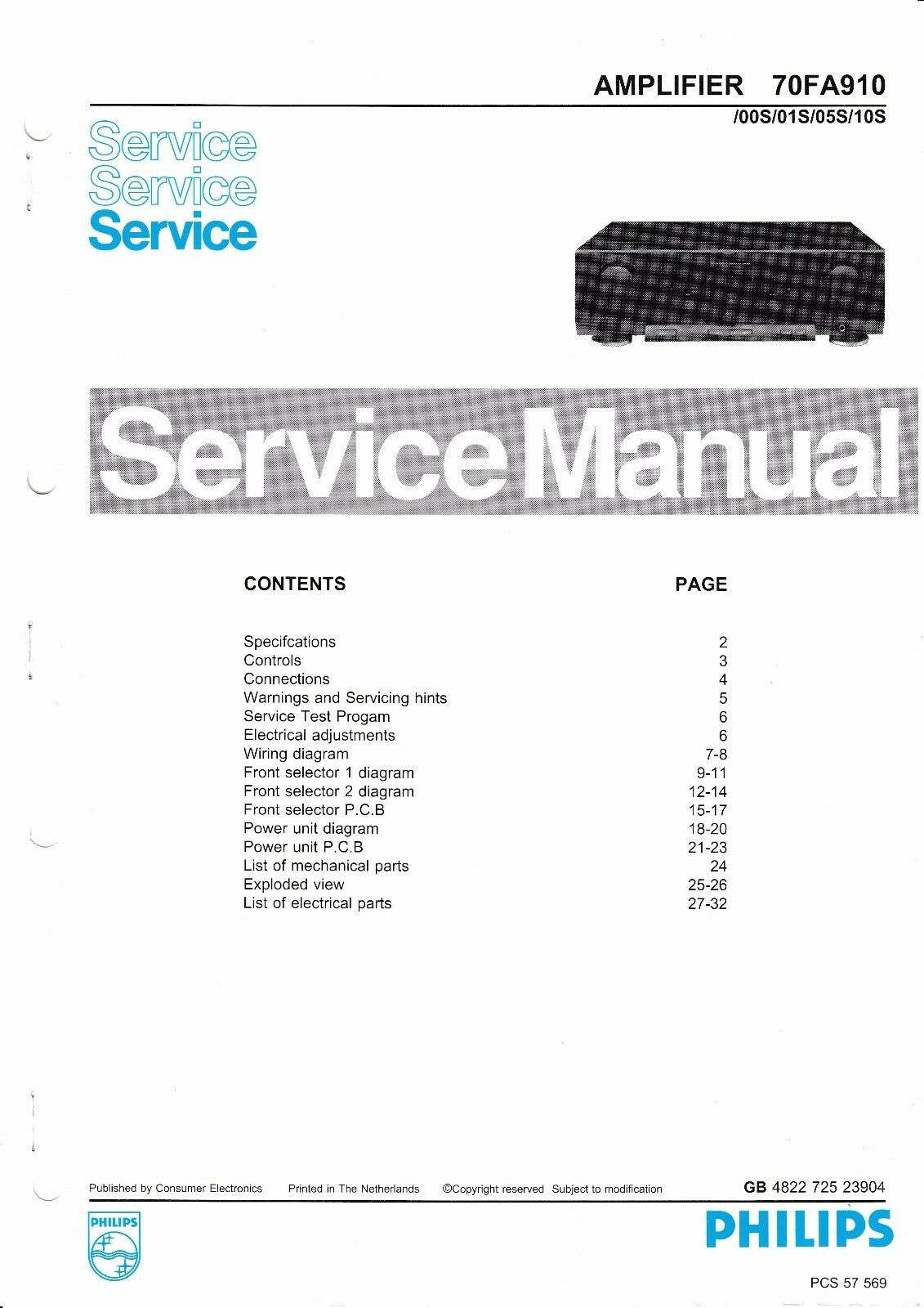 Philips Original Service Manual Für 70 Fa 569 Online Shop Anleitungen & Schaltbilder