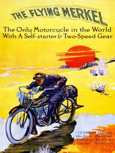 ADVERT MOTORCYCLE FLYING MERKEL USA TRANSPORT POSTER ART PRINT PICTURE BB1933A