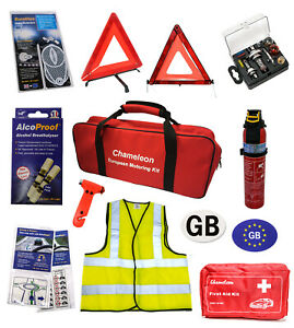AA France Travel Kit with Breathalysers bundle Compact Universal Bulb Kit and High Visibility Vest Family Pack