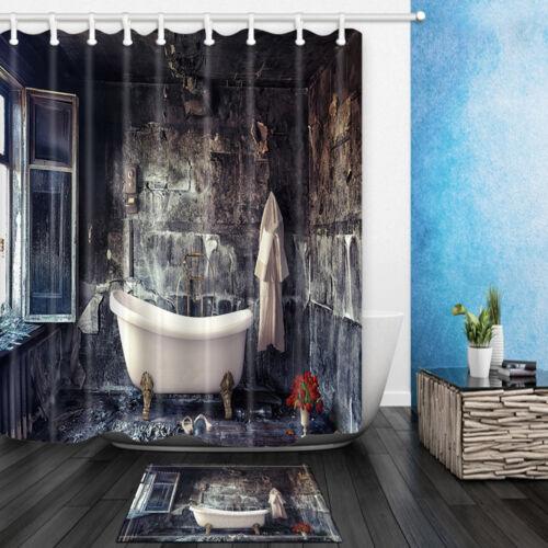 Retro bathtub Waterproof Shower Curtain Bathroom Fabric /& 12 Hooks 71*71INCHES
