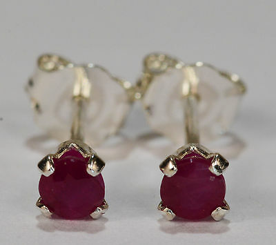 PETITE! GENUINE NATURAL MINED RUBY EARRINGS~STERLING SILVER~3MM