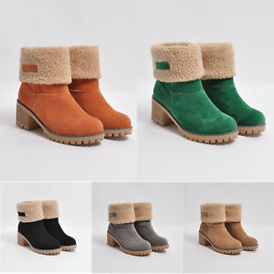 a6c56ba1be4 US Womens Snow Booties Warm Winter Faux Fur Suede Shoes Square Heels ...