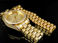 Mens 18k Yellow Gold Finish Stainless Steel Presidential Watch Bracelet Set