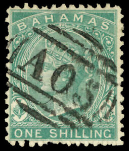 Bahamas #15 Used CV$375.00 1865 1sh GREEN PERF 12.5