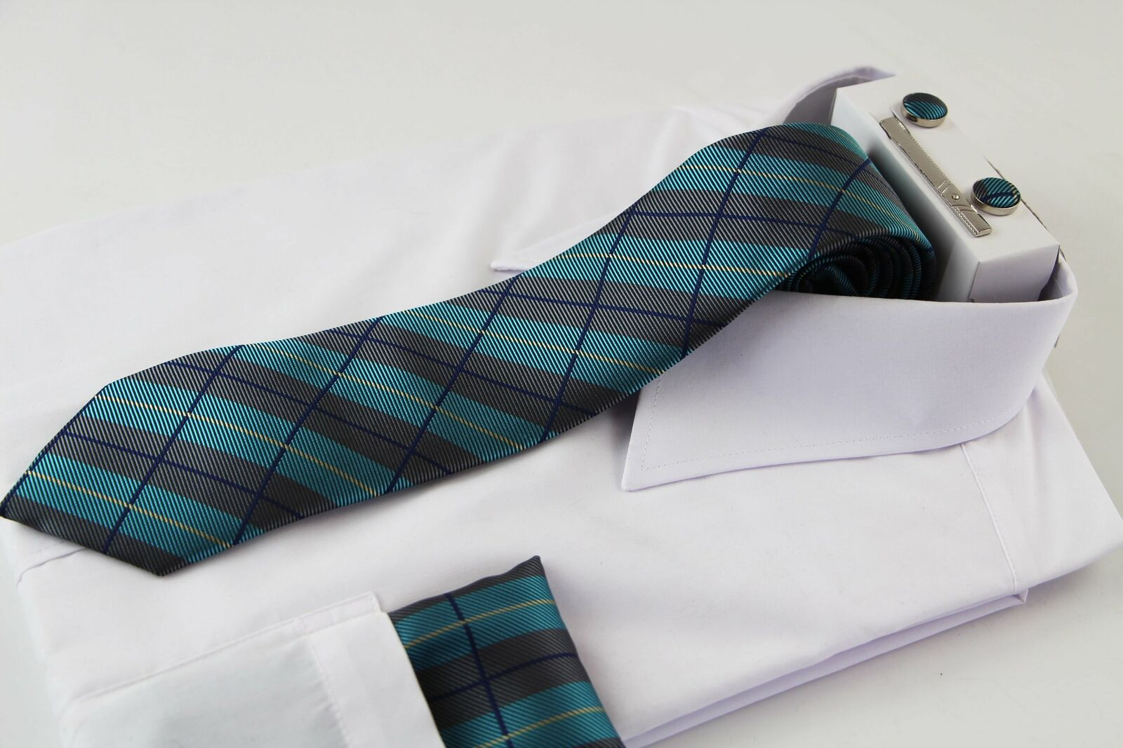 Mens Grey, Sky Blue & Navy Checkered Matching Neck Tie, Pocket Square, Cuff