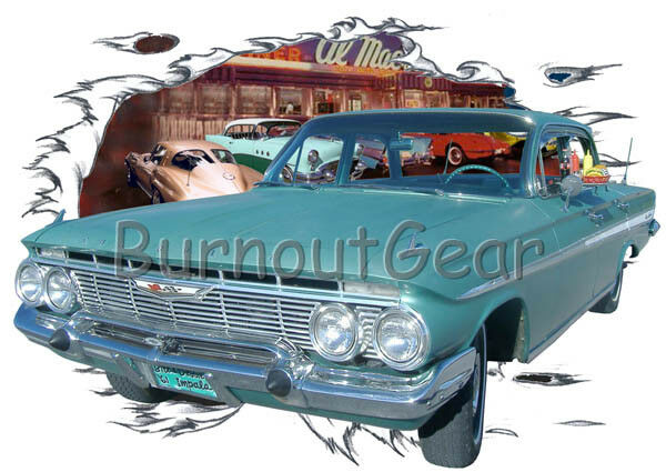 1961 Grün Chevy Impala Custom Hot Rod Diner T-Shirt 61 Muscle Car Tees