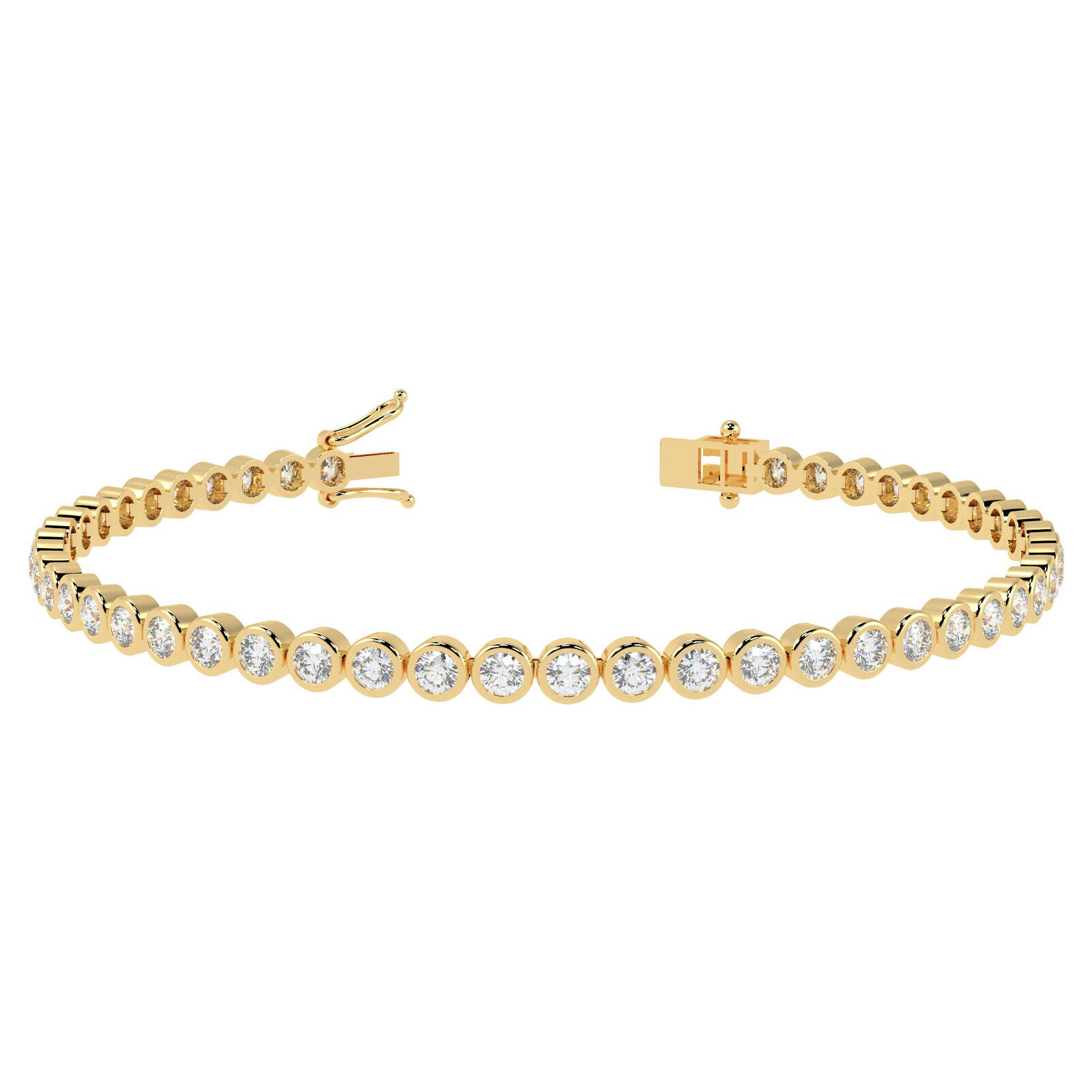5.90ct Round Diamond Bezel set Tennis Bracelet, 18k Yellow gold
