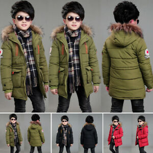 New-Kids-Boys-Padded-Quilted-Puffer-Coat-Jacket-Thick-Hooded-Winter-Overcoat