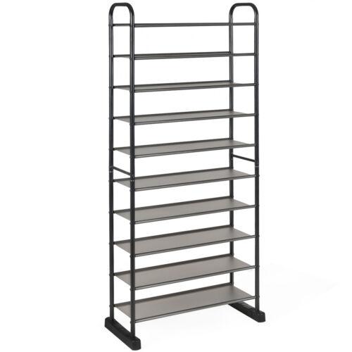 10-Tier Shoe Rack Space-saving Shoe Organizer W//Metal Frame 50 Pairs Shoe Tower