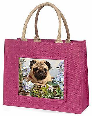 Mops Hund im Korb 'Liebe, die Sie Mama' Große Rosa Einkaufstasche Weihnachten,