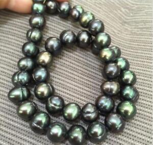 Genuine-18-034-9-10mm-Baroque-South-Sea-Black-Green-Pearl-Necklace
