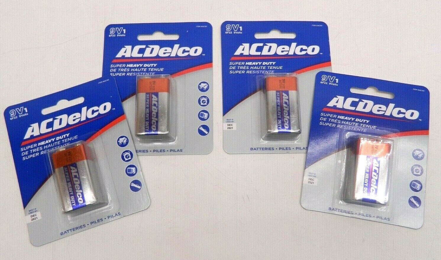 4 Pack Acdelco 9 Volt Batteries Super Heavy Duty Alkaline Battery, 4 Count Pack