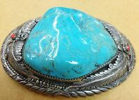 buckles silver and turquoise belt buckle coral native american sterling vintage