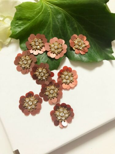 5 piezas de última ronda de la India Flor capas de secuencia de diamantes de imitación zardosi Apliques
