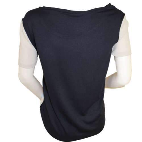 Branded Womens Navy Geometric Mix Front Short Sleeve Scoop Neckline Blouse Top