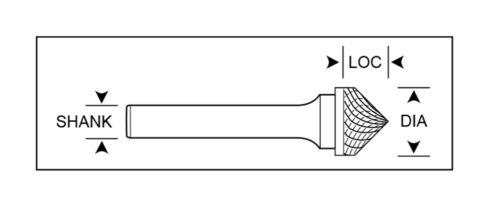 "1//2/"" Diameter 1//4/"" Shank Cone Shape 90° Carbide Burr Single Cut USA SK-5"