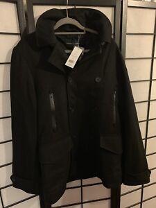 lana taglia coat £ nera Bnwt Rrp petto doppio L in French Connection 175 Mens Pea CSwR0qR
