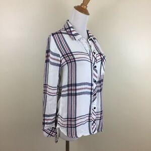 RAILS-Womens-Sz-XS-White-Maroon-Blue-Plaids-Checks-Long-Sleeve-Flannel-Shirt