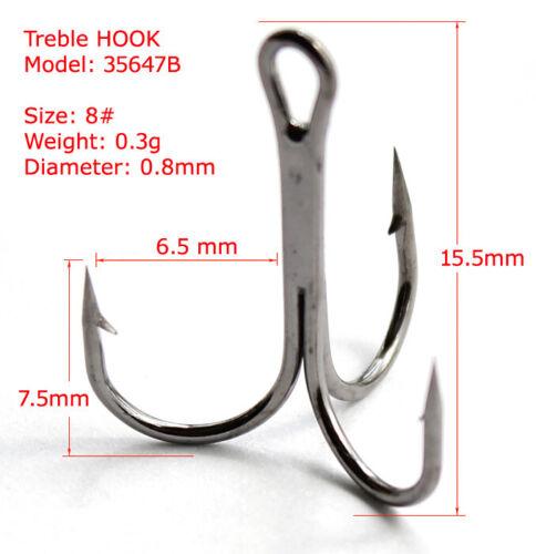 Lots 50pcs Sharpened Treble Black Fishing Hooks Size 2# 4# 6# 8# 10# Fishhook