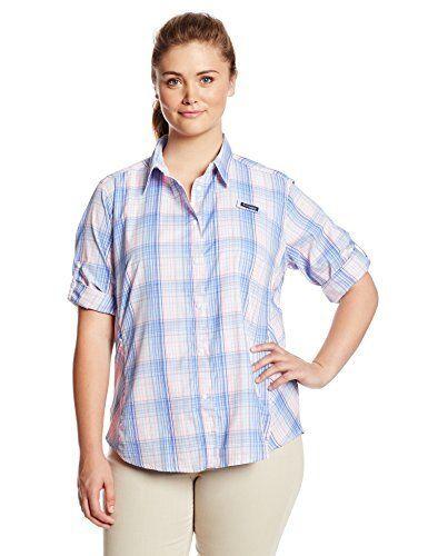 60 Columbia Sportswear Women's Super Tamiami Long Sleeve Shirt, bluee, Medium
