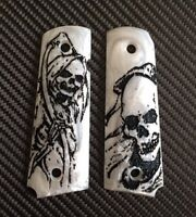 1911 Grips Black Skull Art On White Resin Grips, Colt Kimber 1911 Full Size
