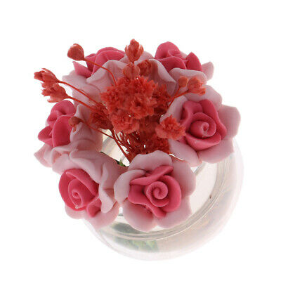 1//12 Dollhouse Miniature Small Red Plant Rose Flower Arrangement Oanment