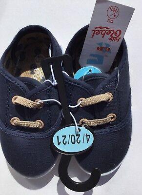 Rispettoso Baby Boy Blu Navy Carrozzina Plimsoles Con Dettaglio In Pizzo Beige-mostra Il Titolo Originale Una Vasta Selezione Di Colori E Disegni