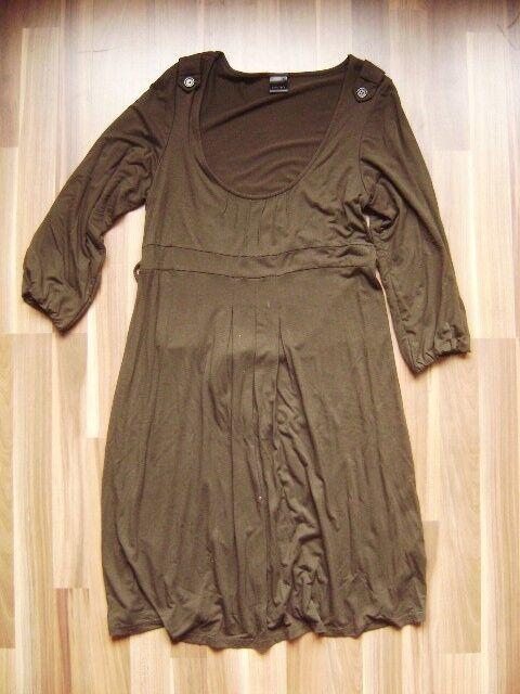 @ Oxmo @ Dress Viscose Olive Green 3 4 Sleeve GR. 40 42 Size L XL Knee Length