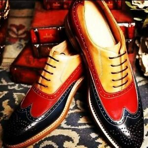 Handmade-Men-039-s-Genuine-Black-Red-amp-Tan-Leather-Wingtip-Oxford-Brogue-Shoes