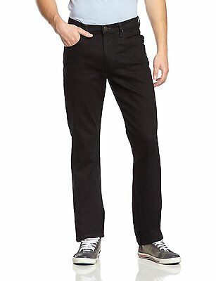 New Lee Brooklyn Mens Straight Leg Stretch Jeans Clean Black Regular Denim Pants