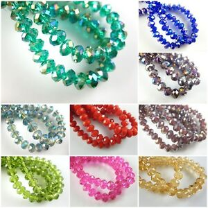 Lampwork-50Pcs-10mm-Faceted-Glass-Loose-Crystal-Beads-Spacer-Rondelle-Findings