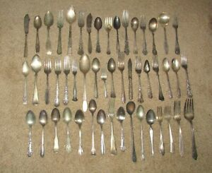 LOT-OF-50-ANTIQUE-SILVER-PLATE-FLATWARE-SPOONS-FORKS-KNIVES-ROGERS-LOT-D