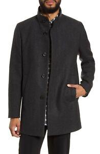 Theory Men's Essential Wool Blend Coat Jacket Charcoal Melange Grey Size XXL