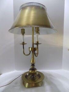 Vtg Metal Shade Bouillotte Triple White Candlestick Table Lamp 3 Way
