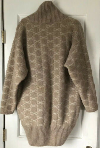 VTG Vintage LeRoy Knit Coat Cardigan Sweater Gray Mohair Wool Womens Large  Button Up Pockets