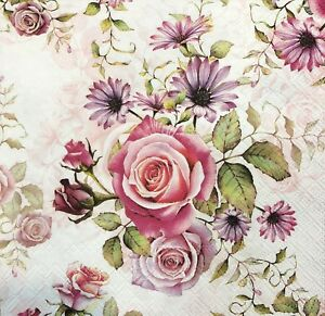 2 Single Paper Napkins for DECOUPAGE Crafts Collection Party Small Roses Flowers