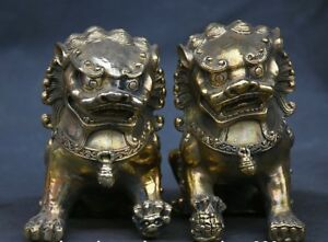 12cm-Chinese-Fengshui-Brass-Foo-Fu-Dog-guardian-Lion-male-and-female-Statue-Pair