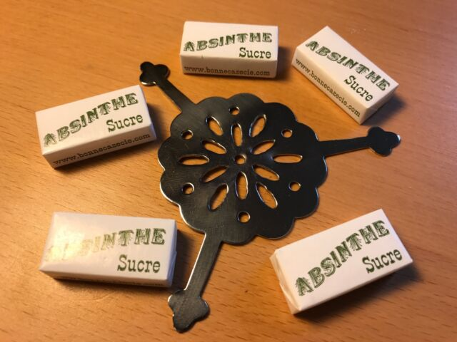 ROUND ABSINTHE GRILLE SPOON /& 10 SUGAR CUBES FREE SHIPPING !!!