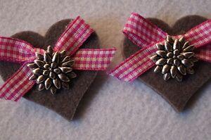 5cm Filz Trachtenschuhe Trachtenschmuck Landhaus 2 Schuhclips Paar Pink Herz ca