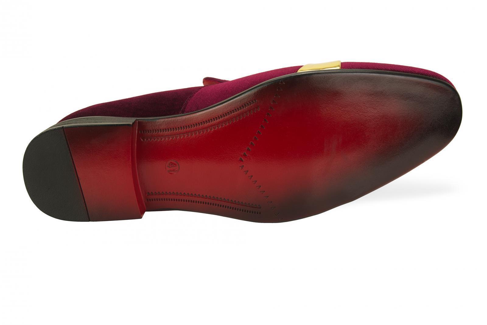 NUOVA linea linea linea uomo Mocassini in velluto Vino Rosso Pantofole Abito Cintura d'oro   Misura 1b9e1b