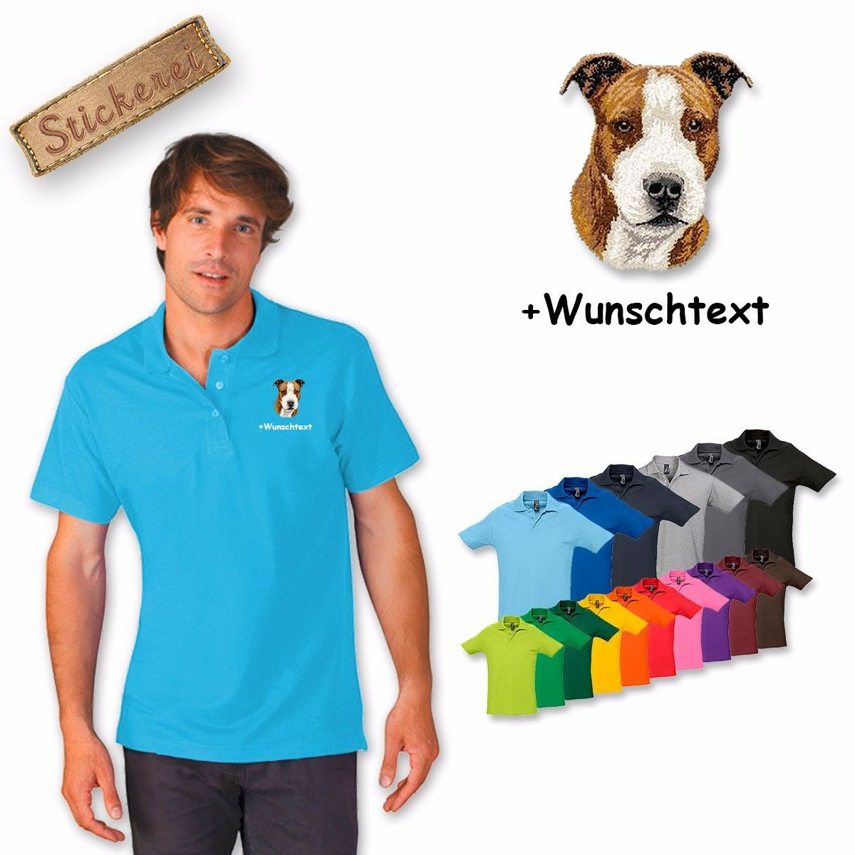 Polo Shirt Shirt Cotton Embroidered American Staffordshire Terrier +
