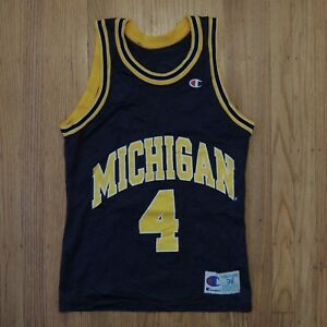 free shipping 43ae1 d9625 Details about Chris Webber Michigan Fab 5 Jersey Vintage Champion Blue  Yellow Mens Size 36