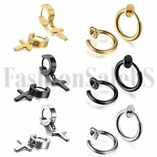 6 Pairs Men's Women Dangle Cross Ear Stud Hoop Huggies Hinged Nose Ring Earrings