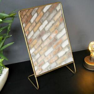 Standing Rectangular Gold Frame Bathroom Shaving Glass Decorative Mirror Stand Ebay