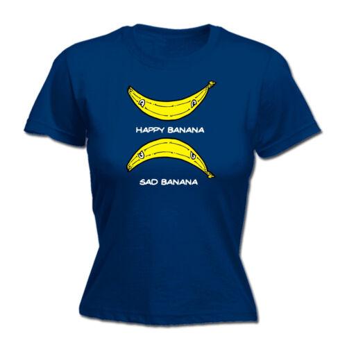 Happy Banana Sad Banana Smiling Face WOMENS T-SHIRT Humor Funny birthday gift