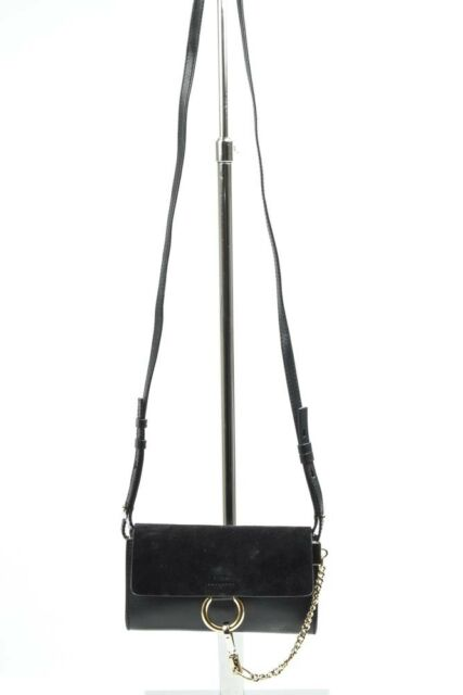 Chloe Faye black suede leather convertible wallet crossbody handbag purse $795